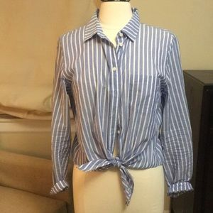 J crew size large button down tie front shirt